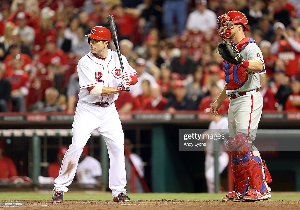 <a gi-track='captionPersonalityLinkClicked' href=/galleries/search?phrase=Joey+Votto&family=editorial&specificpeople=759319 ng-click='$event.stopPropagation()'>Joey Votto</a> of the Cincinnati Reds is intentionally walked in the 8th inning during the game against the Philadelphia Phillies at Great American Ball Park on April 15, 2013 in Cincinnati, Ohio. All uniformed team members are wearing jersey number 42 in honor of Jackie Robinson Day.