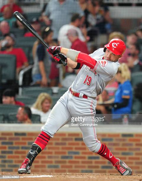 Joey Votto of the Cincinnati Reds knocks in a run with a seventh inning double against the Atlanta Braves at SunTrust Park on August 19 2017 in...