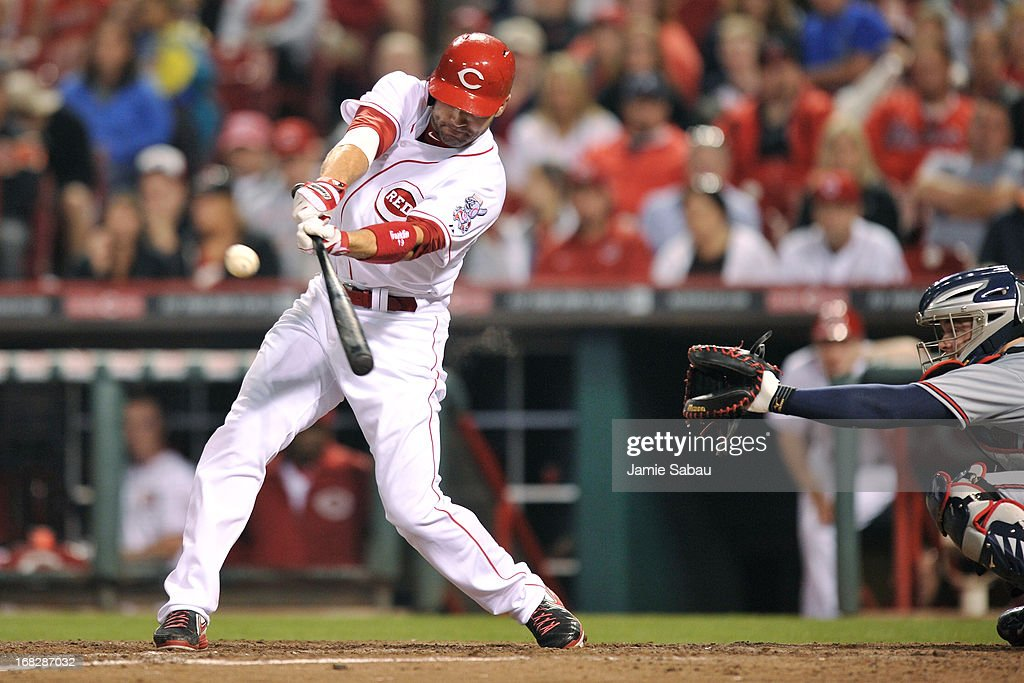 <a gi-track='captionPersonalityLinkClicked' href=/galleries/search?phrase=Joey+Votto&family=editorial&specificpeople=759319 ng-click='$event.stopPropagation()'>Joey Votto</a> #19 of the Cincinnati Reds leads off the bottom of the sixth inning with a double against the Atlanta Braves at Great American Ball Park on May 7, 2013 in Cincinnati, Ohio. Cincinnati defeated Atlanta 5-4.