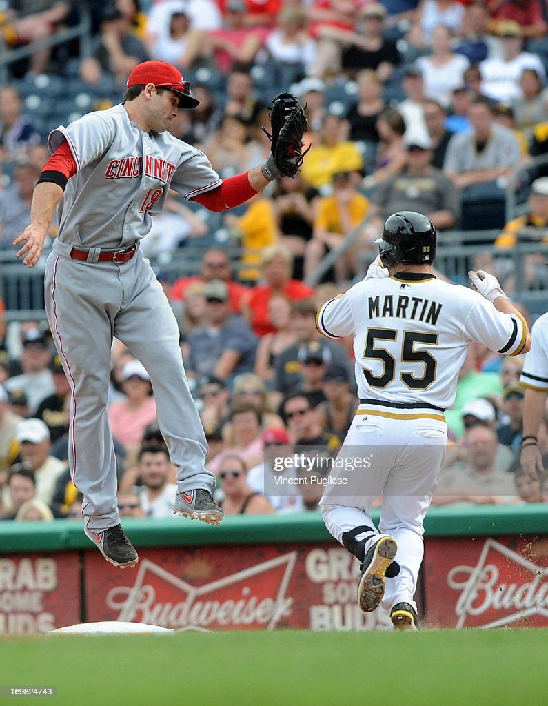 <a gi-track='captionPersonalityLinkClicked' href=/galleries/search?phrase=Joey+Votto&family=editorial&specificpeople=759319 ng-click='$event.stopPropagation()'>Joey Votto</a> #19 of the Cincinnati Reds leaps but can not put the tag on <a gi-track='captionPersonalityLinkClicked' href=/galleries/search?phrase=Russell+Martin+-+Baseball+Player&family=editorial&specificpeople=13764024 ng-click='$event.stopPropagation()'>Russell Martin</a> #55 of the Pittsburgh Pirates at first base at PNC Park on June 2, 2013 in Pittsburgh, Pennsylvania.
