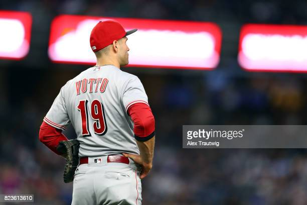 Joey Votto of the Cincinnati Reds looks on during the game against the New York Yankees at Yankee Stadium on Tuesday July 2017 in the Bronx borough...