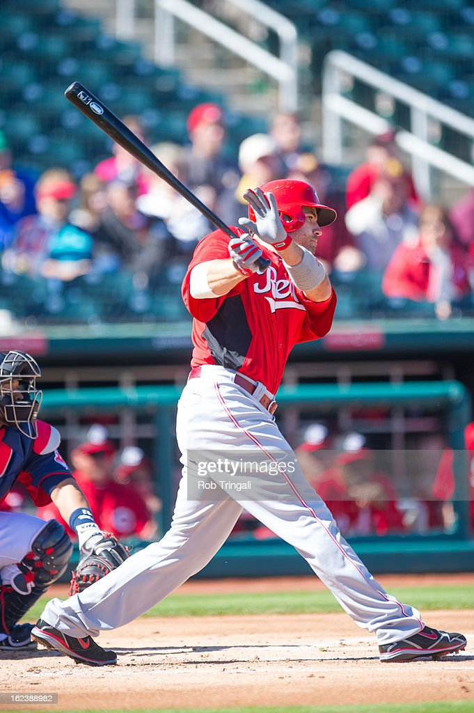 <a gi-track='captionPersonalityLinkClicked' href=/galleries/search?phrase=Joey+Votto&family=editorial&specificpeople=759319 ng-click='$event.stopPropagation()'>Joey Votto</a> #19 of the Cincinnati Reds singles in a run in the first inning during a spring training game against the Cleveland Indians at Goodyear Ballpark on February 22, 2013 in Goodyear, Arizona.