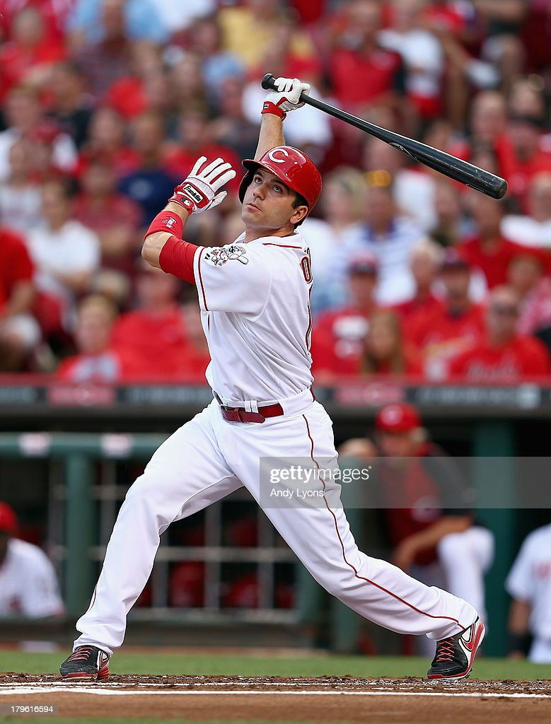 Joey Votto #19 of the Cincinnati Reds swings at a pitch in the 1st inning during the game against the St. Louis Cardinals at Great American Ball Park on September 5, 2013 in Cincinnati, Ohio.