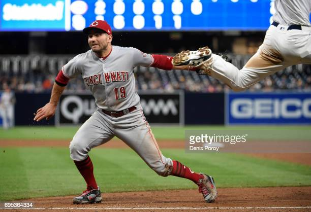 Joey Votto of the Cincinnati Reds tags Wil Myers of the San Diego Padres out as he heads for first base during the sixth inning of a baseball game at...