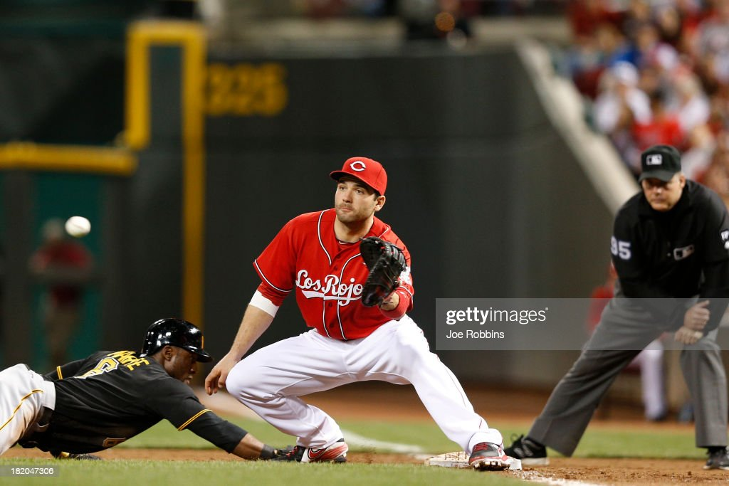 <a gi-track='captionPersonalityLinkClicked' href=/galleries/search?phrase=Joey+Votto&family=editorial&specificpeople=759319 ng-click='$event.stopPropagation()'>Joey Votto</a> #19 of the Cincinnati Reds takes the throw at first base ahead of the slide by <a gi-track='captionPersonalityLinkClicked' href=/galleries/search?phrase=Starling+Marte&family=editorial&specificpeople=7934200 ng-click='$event.stopPropagation()'>Starling Marte</a> #6 of the Pittsburgh Pirates during the game at Great American Ball Park on September 27, 2013 in Cincinnati, Ohio.