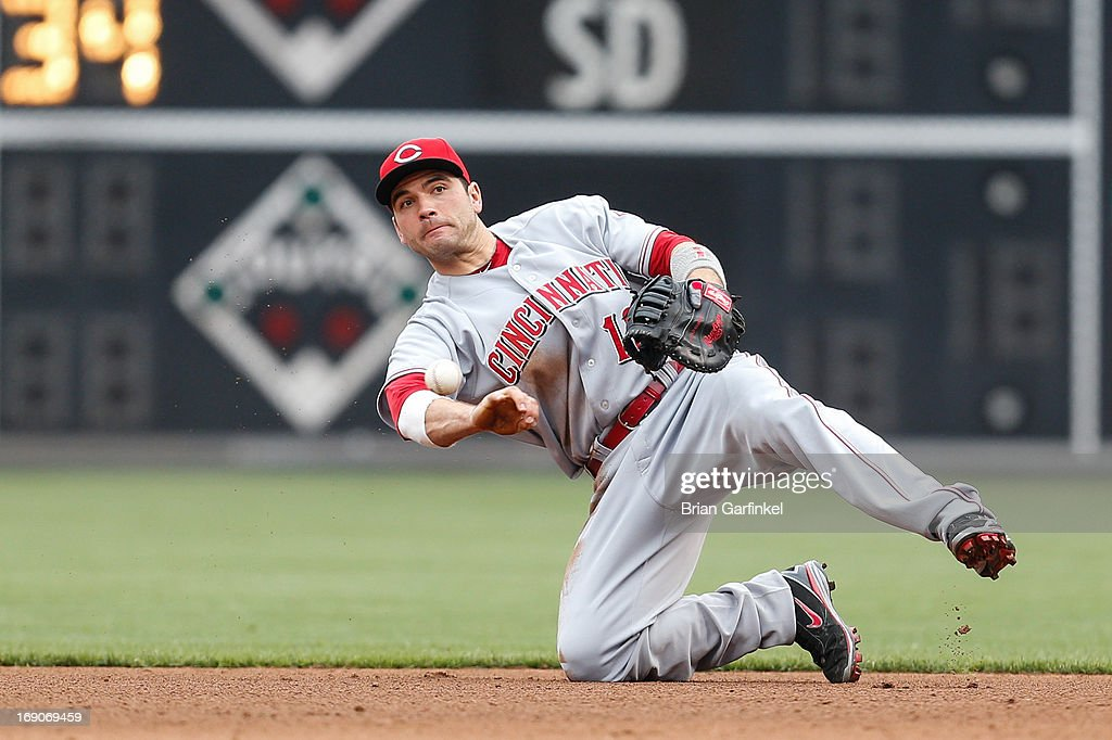 <a gi-track='captionPersonalityLinkClicked' href=/galleries/search?phrase=Joey+Votto&family=editorial&specificpeople=759319 ng-click='$event.stopPropagation()'>Joey Votto</a> #19 of the Cincinnati Reds throws to first after fielding the ball in the fifth inning of the game against the Philadelphia Phillies at Citizens Bank Park on May 19, 2013 in Philadelphia, Pennsylvania. The Phillies won 3-2.