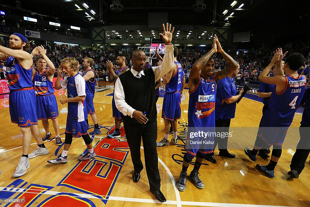 Joey Wright coach of the Sixers is celebrates his teams victory during the round 19 NBL match between the Adelaide 36ers and the New Zealand Breakers at Adelaide Arena in February 23, 2014 in Adelaide, Australia.