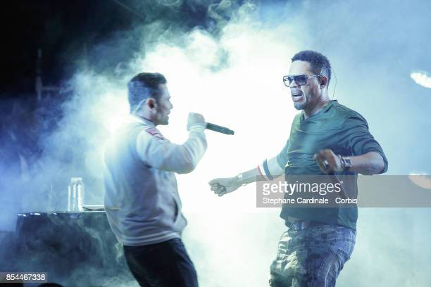 JoeyStarr and Kool Shen of NTM perform after the Etam Spring Summer 2018 show as part of Paris Fashion Week at on September 26 2017 in Paris France