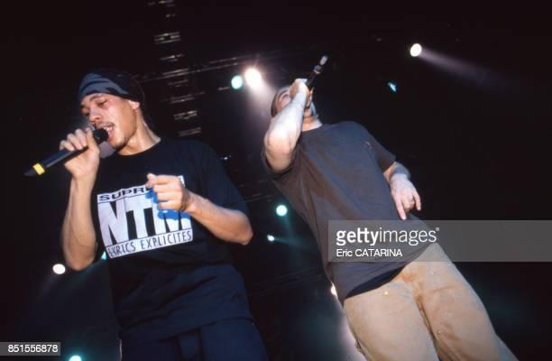 JoeyStarr et Kool Shen membre du groupe NTM en concert au Paleo Festival à Nyon en juillet 1996 Suisse