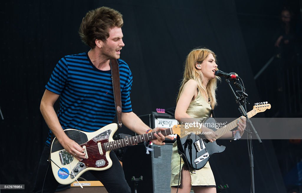 Joff Oddie and Ellie Rowsell of Wolf Alice perform on the Pyramid Stage at Glastonbury Festival 2016 at Worthy Farm, Pilton on June 25, 2016 in Glastonbury, England.