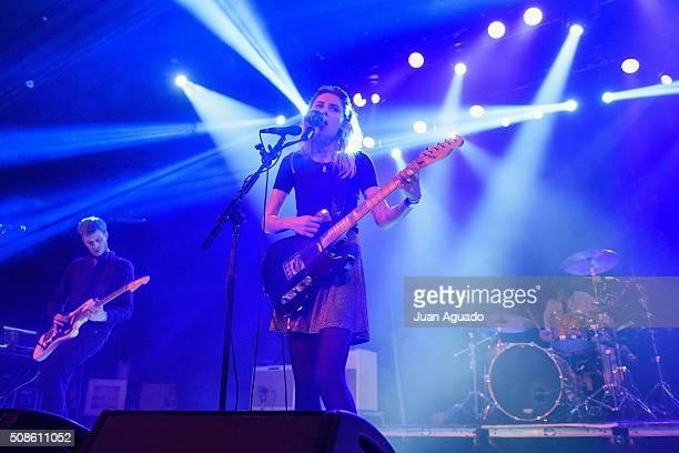 Joff Oddie Ellie Rowsel and Joel Amey of Wolf Alice perform on stage at La Riviera Club on February 5 2016 in Madrid Spain