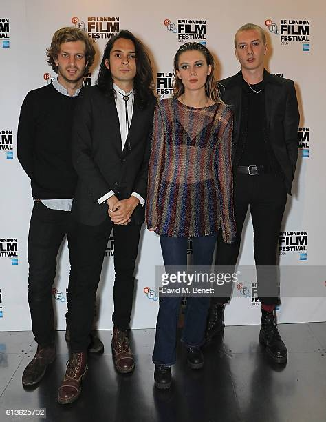 Joff Oddie Joel Amey Ellie Rowsell and Theo Ellis attend the 'On the Road' World Premiere screening during the 60th BFI London Film Festival at BFI...