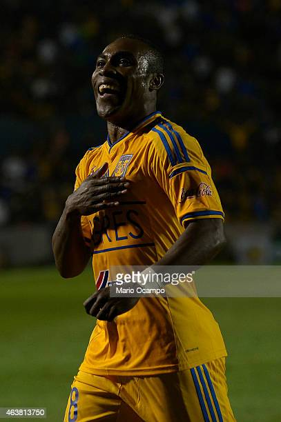 Joffre Guerron of Tigres celebrate after scoring his team's first goal during a group 6 match between Tigres UANL and Juan Aurich as part of Copa...
