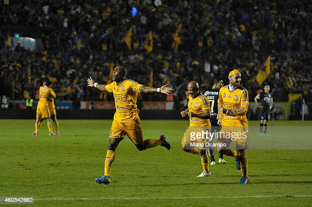 Joffre Guerron of Tigres celebrates after scoring his team's first and winning goal during a Final first leg match between Tigres UANL and America as...