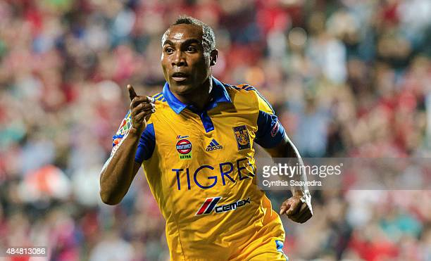 Joffre Guerron of Tigres UANL celebrates after scoring the winning goal of his team during a 6th round match between Tijuana and Tigres UANL as part...