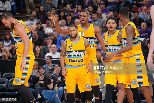 Joffrey Lauvergne DJ Augustin Darrell Arthur Gary Harris and Will Barton of the Denver Nuggets face off against the Sacramento Kings on February 19...