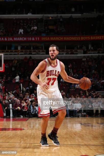 Joffrey Lauvergne of the Chicago Bulls handles the ball against the Denver Nuggets on February 28 2017 at the United Center in Chicago Illinois NOTE...