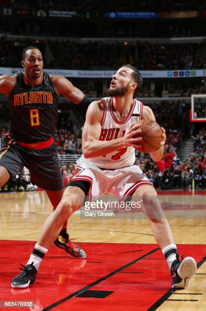 Joffrey Lauvergne of the Chicago Bulls handles the ball against the Atlanta Hawks during the game on April 1 2017 at the United Center in Chicago...