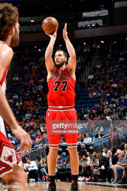 Joffrey Lauvergne of the Chicago Bulls shoots the ball against the Orlando Magic on March 8 2017 at Amway Center in Orlando Florida NOTE TO USER User...