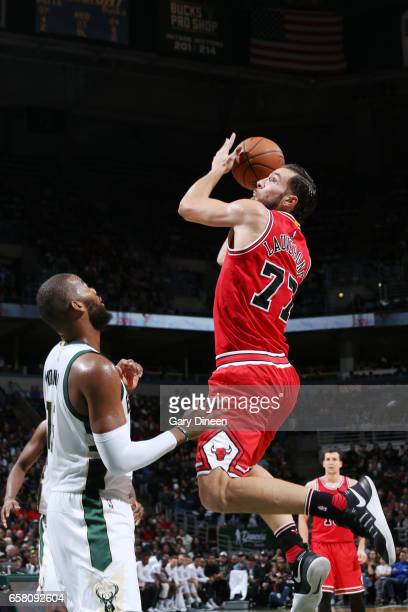 Joffrey Lauvergne of the Chicago Bulls shoots the ball against the Milwaukee Bucks during the game on March 26 2017 at the BMO Harris Bradley Center...