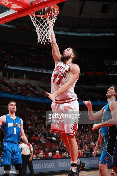 Joffrey Lauvergne of the Chicago Bulls shoots the ball during a game against the Orlando Magic on April 10 2017 at the United Center in Chicago...