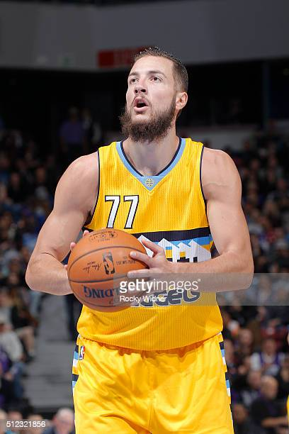 Joffrey Lauvergne of the Denver Nuggets attempts a free throw shot against the Sacramento Kings on February 19 2016 at Sleep Train Arena in...