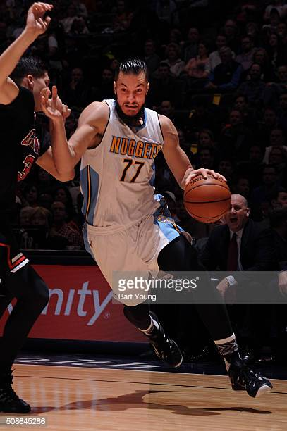 Joffrey Lauvergne of the Denver Nuggets drives to the basket against the Chicago Bulls on February 5 2016 at the Pepsi Center in Denver Colorado NOTE...