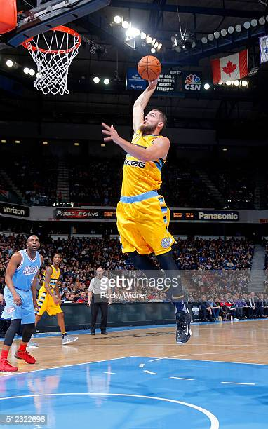 Joffrey Lauvergne of the Denver Nuggets dunks against the Sacramento Kings on February 19 2016 at Sleep Train Arena in Sacramento California NOTE TO...