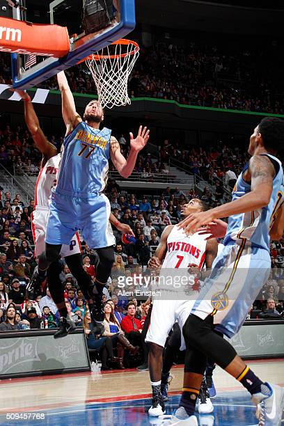 Joffrey Lauvergne of the Denver Nuggets goes for the layup against the Detroit Pistons during the game on February 10 2016 at The Palace of Auburn...