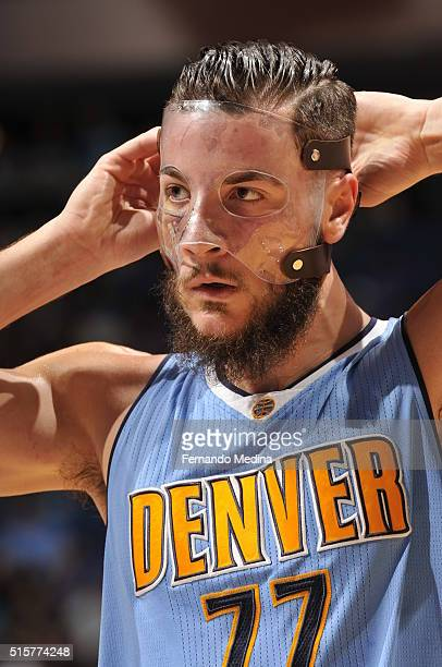Joffrey Lauvergne of the Denver Nuggets is seen during the game against the Orlando Magic on March 15 2016 at the Amway Center in Orlando Florida...
