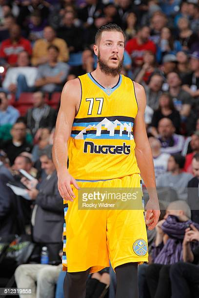 Joffrey Lauvergne of the Denver Nuggets looks on during the game against the Sacramento Kings on February 19 2016 at Sleep Train Arena in Sacramento...