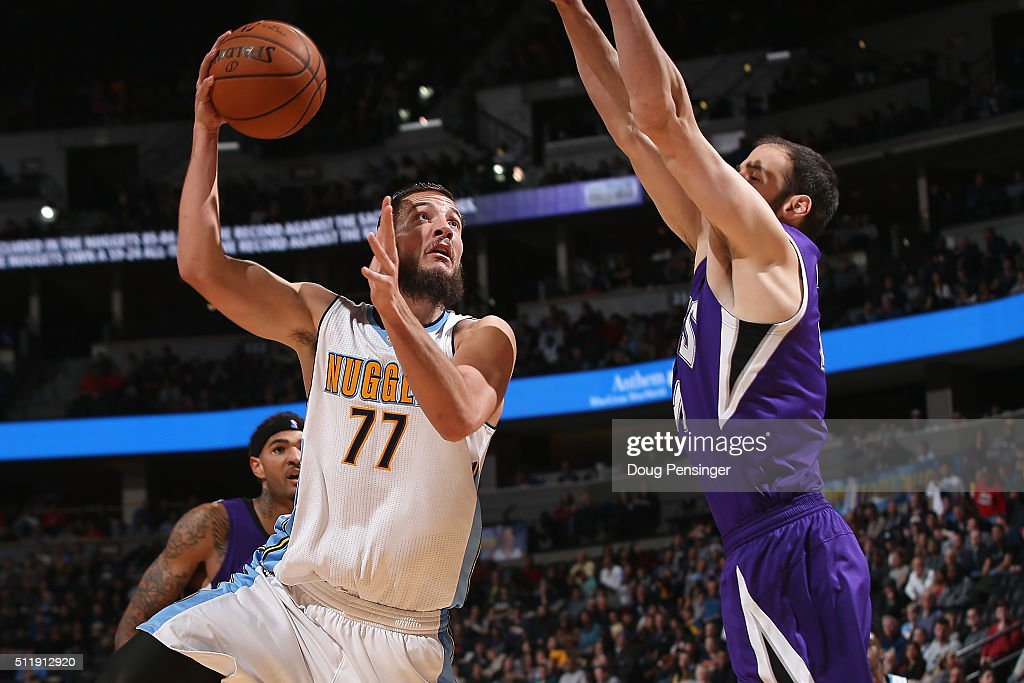 <a gi-track='captionPersonalityLinkClicked' href=/galleries/search?phrase=Joffrey+Lauvergne&family=editorial&specificpeople=6828069 ng-click='$event.stopPropagation()'>Joffrey Lauvergne</a> #77 of the Denver Nuggets puts up a shot against <a gi-track='captionPersonalityLinkClicked' href=/galleries/search?phrase=Kosta+Koufos&family=editorial&specificpeople=4216032 ng-click='$event.stopPropagation()'>Kosta Koufos</a> #41 of the Sacramento Kings at Pepsi Center on February 23, 2016 in Denver, Colorado. The Kings defeated the Nuggets 114-110.