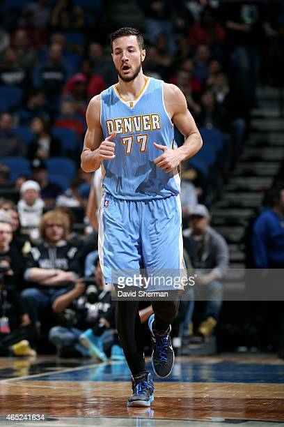 Joffrey Lauvergne of the Denver Nuggets runs down the court during a game against the Minnesota Timberwolves on March 4 2015 at Target Center in...