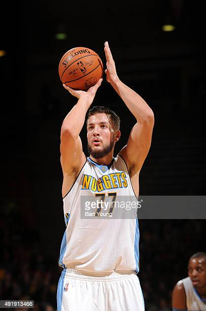 Joffrey Lauvergne of the Denver Nuggets shoots a free throw against the Chicago Bulls during a preseason game on October 8 2015 at the Coors Event...