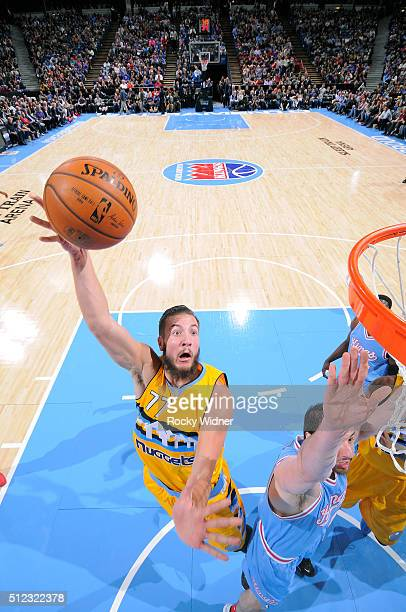 Joffrey Lauvergne of the Denver Nuggets shoots a layup against the Sacramento Kings on February 19 2016 at Sleep Train Arena in Sacramento California...