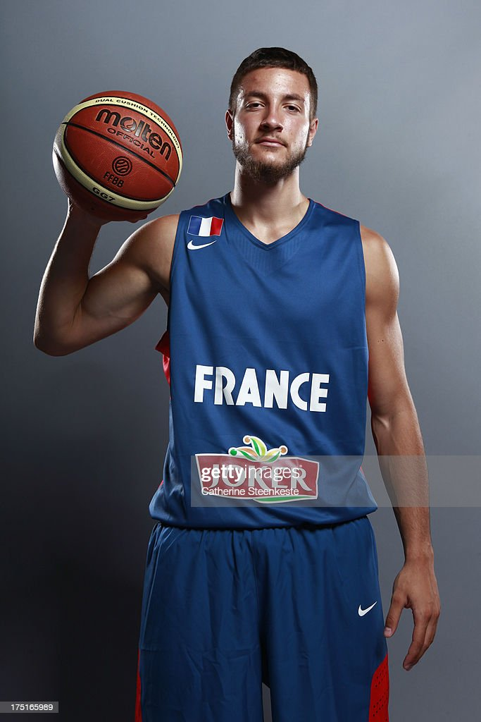<a gi-track='captionPersonalityLinkClicked' href=/galleries/search?phrase=Joffrey+Lauvergne&family=editorial&specificpeople=6828069 ng-click='$event.stopPropagation()'>Joffrey Lauvergne</a> #21 of the French Men's National basketball team poses for a portrait during the team's annual studio shoot at INSEP on July 22, 2013 in Paris, France.