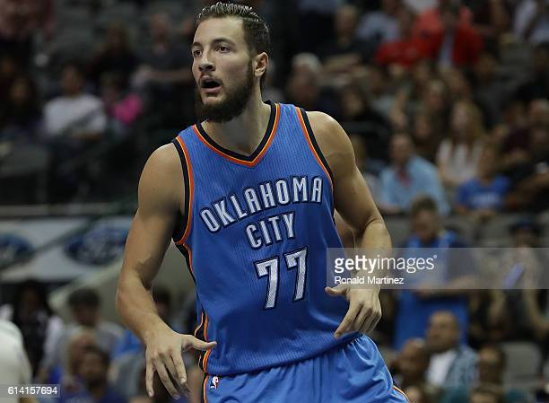 Joffrey Lauvergne of the Oklahoma City Thunder during a preseason game at American Airlines Center on October 11 2016 in Dallas Texas