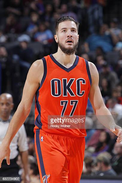 Joffrey Lauvergne of the Oklahoma City Thunder looks on during the game against the Sacramento Kings on January 15 2017 at Golden 1 Center in...