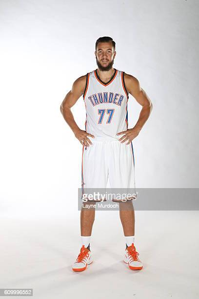Joffrey Lauvergne of the Oklahoma City Thunder poses for a portrait during 2016 NBA Media Day on September 23 2016 at the Chesapeake Energy Arena in...