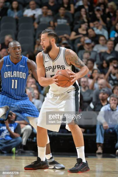 Joffrey Lauvergne of the San Antonio Spurs handles the ball against the Orlando Magic during a preseason game on October 10 2017 at the ATT Center in...