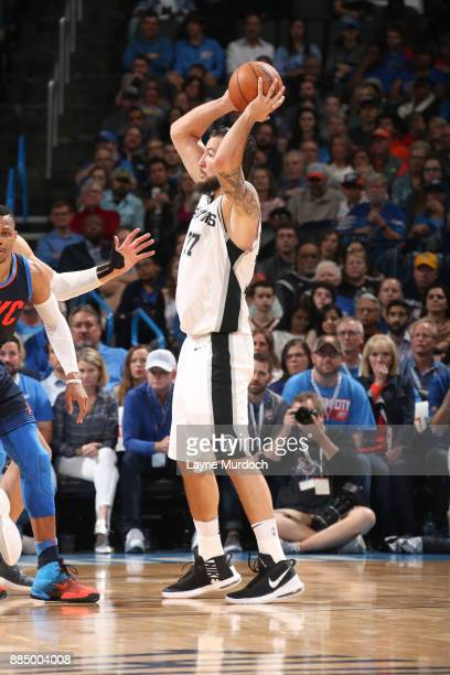 Joffrey Lauvergne of the San Antonio Spurs handles the ball against the Oklahoma City Thunder on December 3 2017 at Chesapeake Energy Arena in...