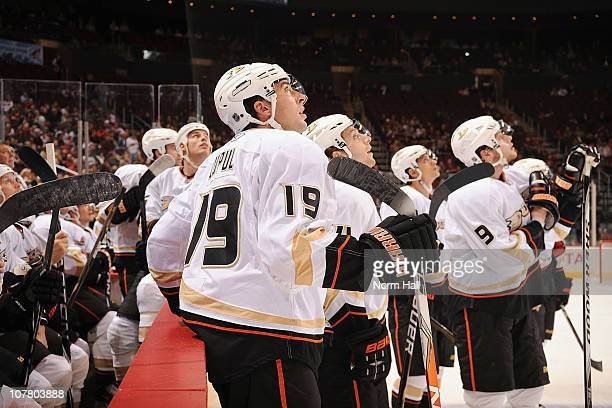 Joffrey Lupul of the Anaheim Ducks stands with teammates and watches a replay as his goal is under official review on December 28 2010 at Jobingcom...