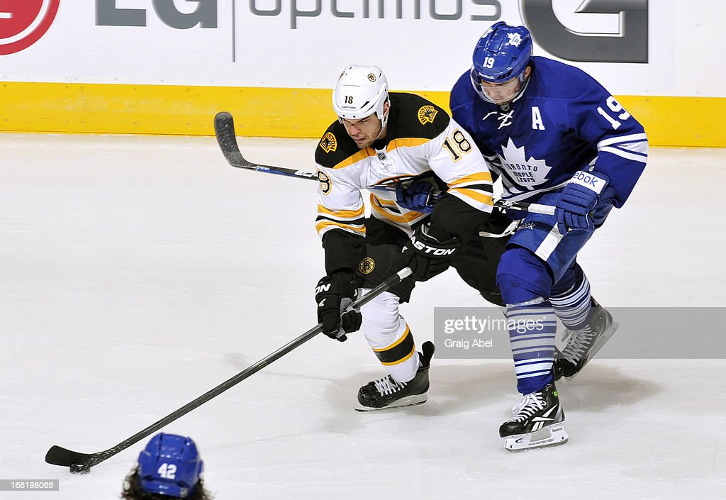 <a gi-track='captionPersonalityLinkClicked' href=/galleries/search?phrase=Joffrey+Lupul&family=editorial&specificpeople=206995 ng-click='$event.stopPropagation()'>Joffrey Lupul</a> #19 of the Toronto Maple Leafs battles for the puck with <a gi-track='captionPersonalityLinkClicked' href=/galleries/search?phrase=Nathan+Horton&family=editorial&specificpeople=204741 ng-click='$event.stopPropagation()'>Nathan Horton</a> #18 of the Boston Bruins in Game Three of the Eastern Conference Quarterfinals during the 2013 NHL Stanley Cup Playoffs May 6, 2013 at the Air Canada Centre in Toronto, Ontario, Canada.