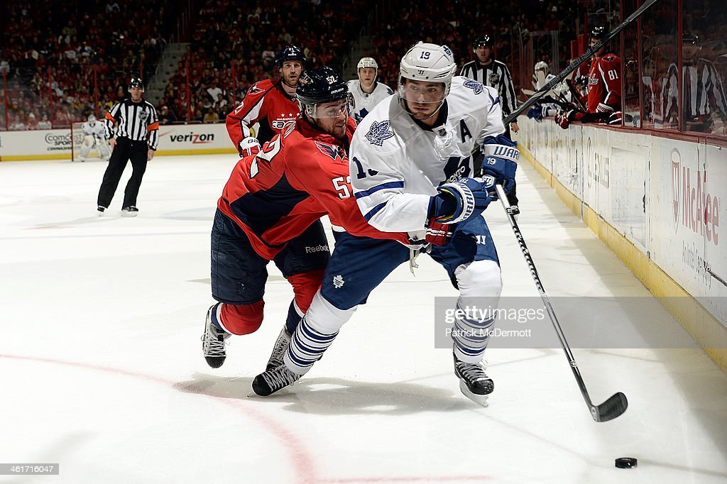 Joffrey Lupul #19 of the Toronto Maple Leafs controls the puck against Mike Green #52 of the Washington Capitals in the third period during an NHL game at Verizon Center on January 10, 2014 in Washington, DC.
