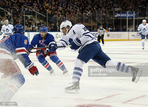 Joffrey Lupul of the Toronto Maple Leafs is stopped in the first period in the game against the New York Rangers at Madison Square Garden on October...