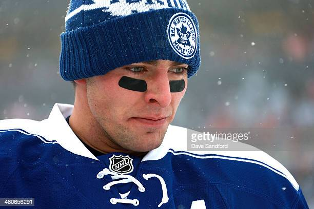 Joffrey Lupul of the Toronto Maple Leafs looks on during warmup prior to the 2014 Bridgestone NHL Winter Classic on January 1 2014 at Michigan...