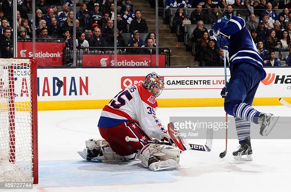 Joffrey Lupul of the Toronto Maple Leafs scores a third period goal on Justin Peters of the Washington Capitals during NHL game action November 29...