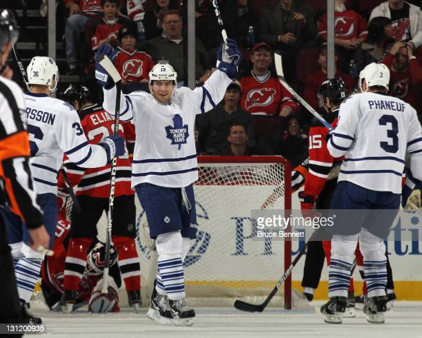 Joffrey Lupul of the Toronto Maple Leafs scores his third goal of the game at 1313 of the second period against the New Jersey Devils at the...