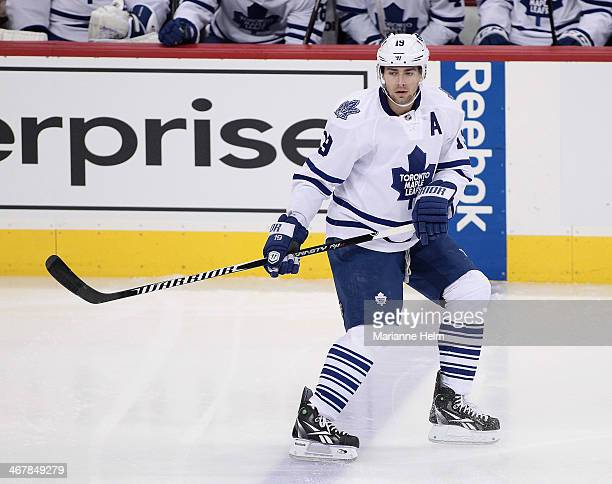 Joffrey Lupul of the Toronto Maple Leafs skates on the ice during first period action in an NHL game against the Winnipeg Jets at the MTS Centre on...