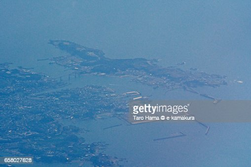 Jogashima island aerial view from airplane : ストックフォト